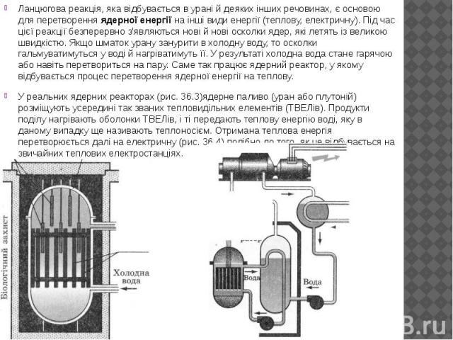 Ланцюгова реакція, яка відбувається в урані й деяких інших речовинах, є основою для перетворенняядерної енергіїна інші види енергії (теплову, електричну). Під час цієї реакції безперервно з'являються нові й нові осколки ядер, які летять …