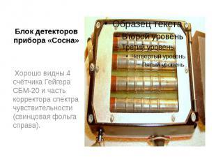 Блок детекторов прибора «Сосна» Хорошо видны 4 счётчика Гейгера СБМ-20 и часть к