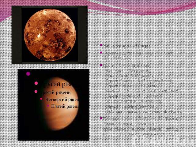 Характеристика Венери Середня відстань від Сонця - 0.723 AU, 108.200.000 км; Орбіта - 0.72 орбіти Землі;  Нахил осі - 178 градусів;  Ухил орбіти - 3.39 градуса;  Середній радіус - 0.95 радіуса Землі;  Середній діаметр - 12104…