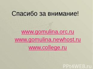 Спасибо за внимание! www.gomulina.orc.ru www.gomulina.newhost.ru www.college.ru