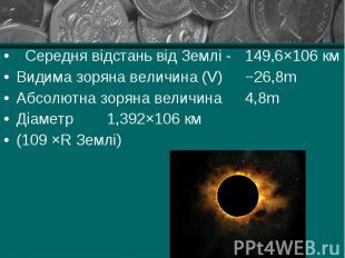 Середня відстань від Землі - 149,6×106 км Середня відстань від Землі - 149,6×106