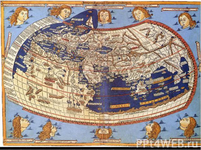 Філософ Анаксимандр уявляв Землю відрізком колони або циліндра. Середину Землі займає суша у вигляді великого круглого острова Ойкумени («населеної Землі»), оточеного океаном. Морський басейн всередині Ойкумени ділить її на дві приблизно рівні части…