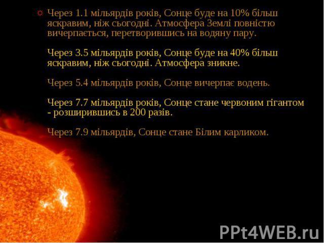 Через 1.1 мільярдів років, Сонце буде на 10% більш яскравим, ніж сьогодні. Атмосфера Землі повністю вичерпається, перетворившись на водяну пару. Через 3.5 мільярдів років, Сонце буде на 40% більш яскравим, ніж сьогодні. Атмосфера зникне. Через 5.4 м…