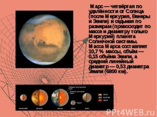 Марс — четвёртая по удалённости от Солнца (после Меркурия, Венеры и Земли) и сед