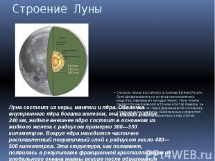 Строение Луны Согласно теории российского астронома Евгении Рускол, Луна сформир