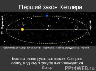Перший закон Кеплера Кожна з планет рухається навколо Сонця по еліпсу, в одному