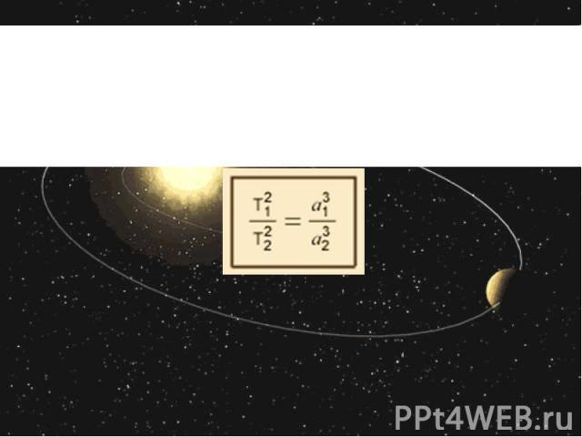 Якщо сидеричні періоди обертання двох планет позначити , а великі півосі еліпсів – відповідно , то третій закон Кеплера матиме вигляд: