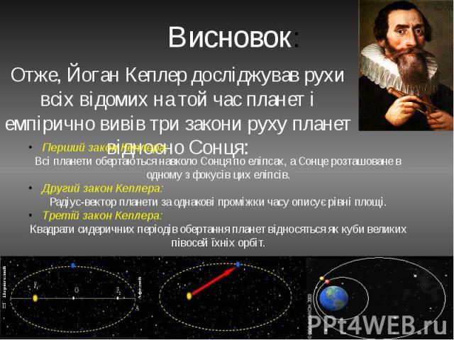 Висновок: Отже, Йоган Кеплер досліджував рухи всіх відомих на той час планет і емпірично вивів три закони руху планет відносно Сонця: