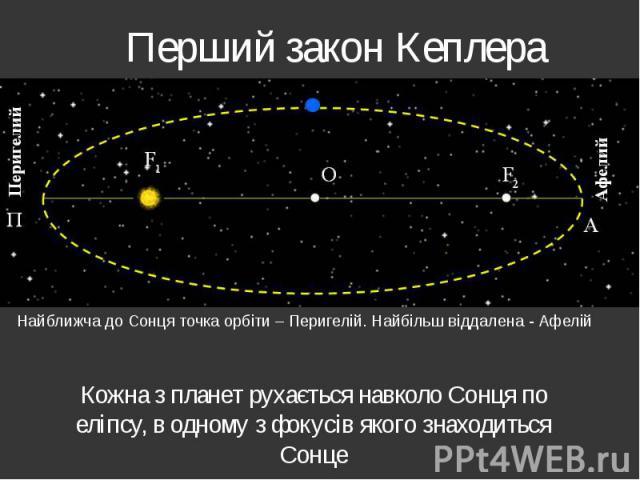 Перший закон Кеплера Кожна з планет рухається навколо Сонця по еліпсу, в одному з фокусів якого знаходиться Сонце
