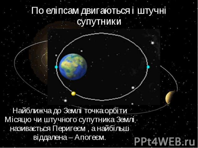 По еліпсам двигаються і штучні супутники Найближча до Землі точка орбіти Місяцю чи штучного супутника Землі називається Перигеєм , а найбільш віддалена – Апогеєм.