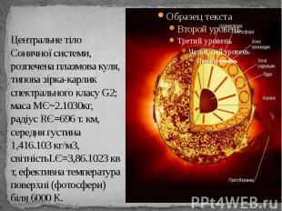 Центральне тіло Сонячної системи, розпечена плазмова куля, типова зірка-карлик с