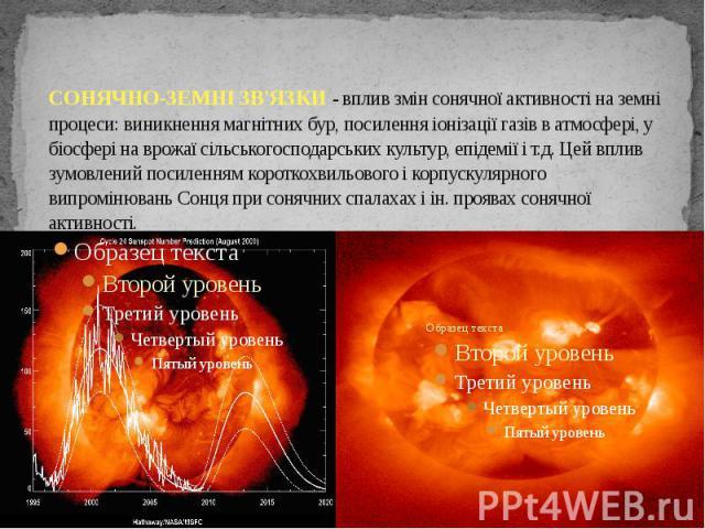 СОНЯЧНО-ЗЕМНІ ЗВ'ЯЗКИ - вплив змін сонячної активності на земні процеси: виникнення магнітних бур, посилення іонізації газів в атмосфері, у біосфері на врожаї сільськогосподарських культур, епідемії і т.д. Цей вплив зумовлений посиленням короткохвил…