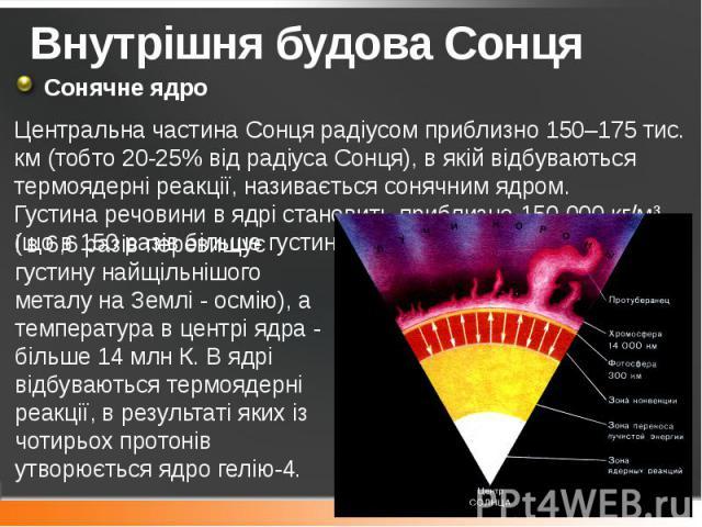 Внутрішня будова Сонця Сонячне ядро Центральна частина Сонця радіусом приблизно 150–175 тис. км (тобто 20-25% від радіуса Сонця), в якій відбуваються термоядерні реакції, називається сонячним ядром. Густинаречовини в ядрі становить приблизно 1…
