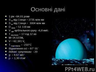 1 рік =84,01 роки 1 рік =84,01 роки S min від Сонця = 2735 млн км S max від Сонц