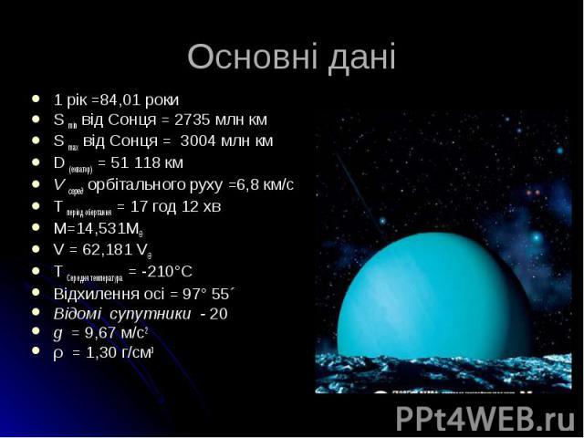 1 рік =84,01 роки 1 рік =84,01 роки S min від Сонця = 2735 млн км S max від Сонця = 3004 млн км D (екватор) = 51 118 км V серед орбітального руху =6,8 км/с Т період обертання = 17 год 12 хв М=14,531M V = 62,181 V Т Середня температура = -210°C Відхи…