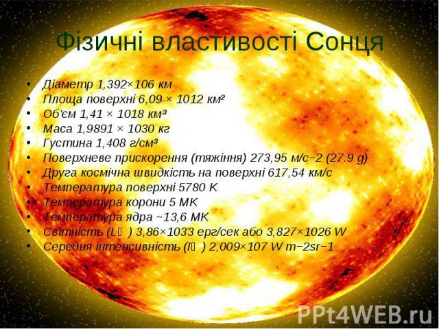 Фізичні властивості Сонця Діаметр 1,392×106км Площа поверхні 6,09×1012км² Об'єм 1,41 × 1018км³ Маса 1,9891 × 1030кг Густина 1,408 г/см³ Поверхневе прискорення (тяжіння) 273,95 м/с−2 (27.9g) Друга космічна шв…