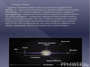 Структура Галактики Структура Галактики Диаметр Галактики составляет около 30 ты