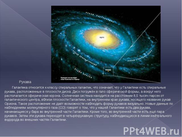 Рукава Рукава Галактика относится к классу спиральных галактик, что означает, что у Галактики есть спиральные рукава, расположенные в плоскости диска. Диск погружён в гало сферической формы, а вокруг него располагается сферическая корона. Солнечная …