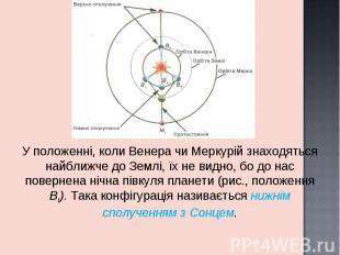 У положенні, коли Венера чи Меркурій знаходяться найближче до Землі, їх не видно