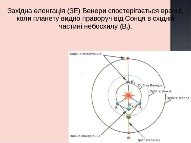 Західна елонгація (ЗЕ) Венери спостерігається вранці, коли планету видно праворуч від Сонця в східній частині небосхилу (В2). Західна елонгація (ЗЕ) Венери спостерігається вранці, коли планету видно праворуч від Сонця в східній частині небосхилу (В2).
