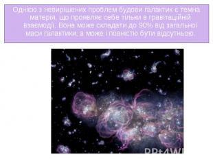 Однією з невирішених проблем будови галактик єтемна матерія, що проявляє с