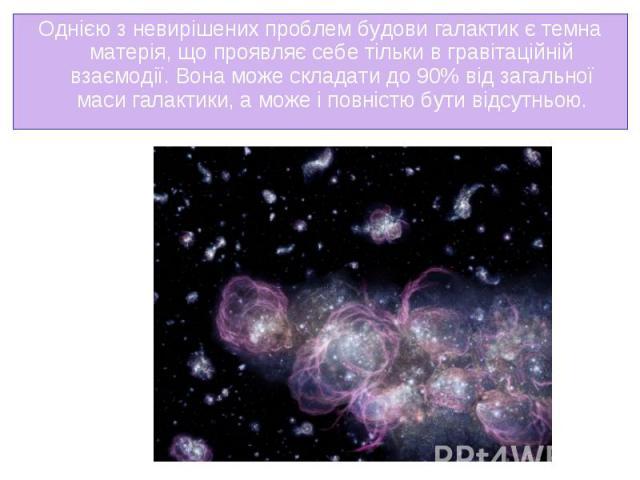 Однією з невирішених проблем будови галактик єтемна матерія, що проявляє себе тільки в гравітаційній взаємодії. Вона може складати до 90% від загальної маси галактики, а може і повністю бути відсутньою. Однією з невирішених проблем будови гала…