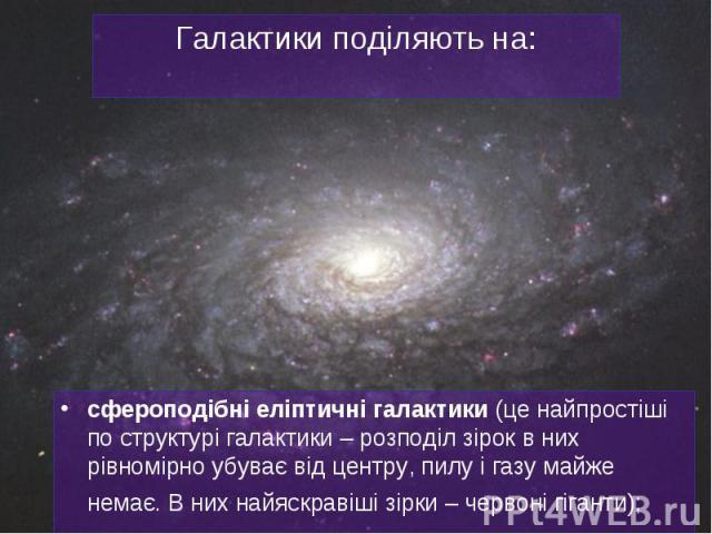 сфероподібніеліптичні галактики (це найпростіші по структурі галактики – розподіл зірок в них рівномірно убуває від центру, пилу і газу майже немає. В них найяскравіші зірки – червоні гіганти); сфероподібніеліптичні галактики (це найпрос…