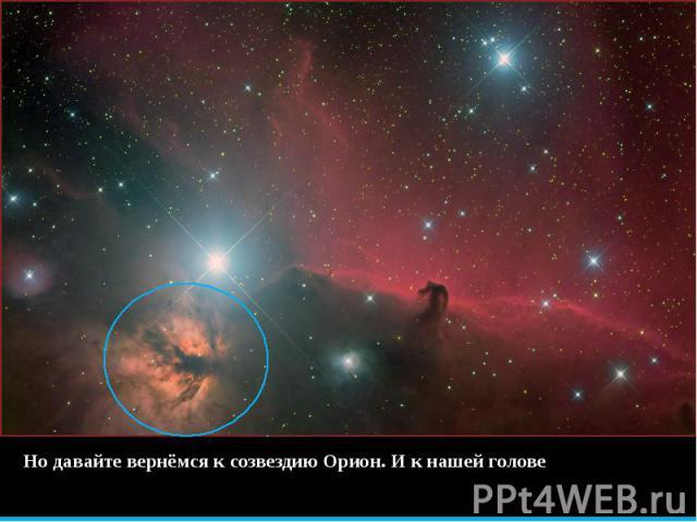 Но давайте вернёмся к созвездию Орион. И к нашей голове Но давайте вернёмся к созвездию Орион. И к нашей голове