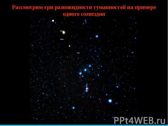 Рассмотрим три разновидности туманностей на примере одного созвездия