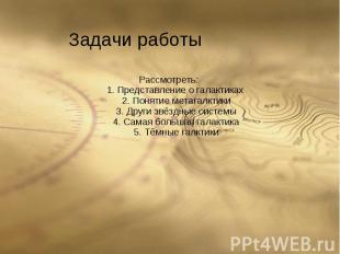 Рассмотреть: 1. Представление о галактиках 2. Понятие метагалктики 3