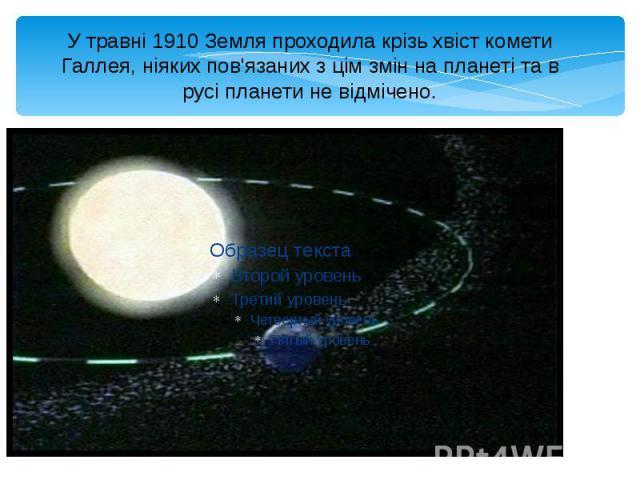 У травні 1910 Земля проходила крізь хвіст комети Галлея, ніяких пов'язаних з цім змін на планеті та в русі планети не відмічено.