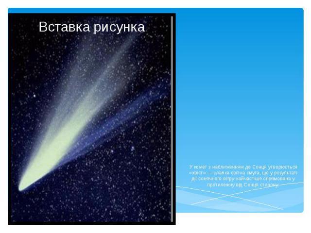 У комет з наближенням до Сонця утворюється «хвіст» — слабка світна смуга, що у результаті дії сонячного вітру найчастіше спрямована у протилежну від Сонця сторону.