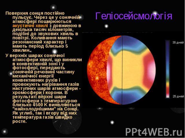 Геліосейсмологія Поверхня сонця постійно пульсує. Через це у сонячній атмосфері поширюються акустичні хвилі з довжиною в декілька тисяч кілометрів, подібні до звукових хвиль в повітрі. Коливання мають резонансний характер і мають період близько 5 хв…