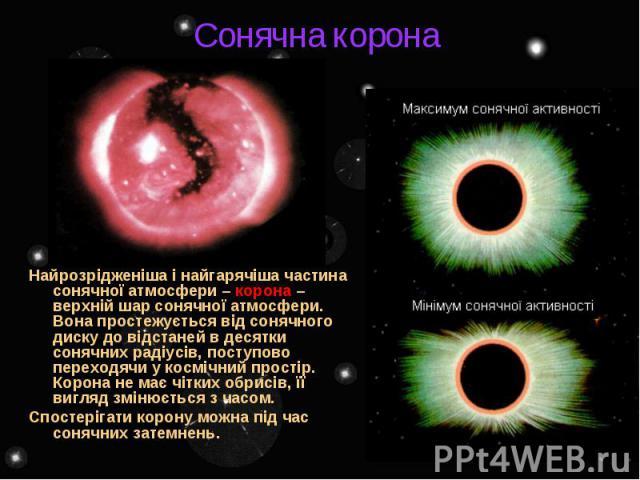 Сонячна корона Найрозрідженіша і найгарячіша частина сонячної атмосфери – корона – верхній шар сонячної атмосфери. Вона простежується від сонячного диску до відстаней в десятки сонячних радіусів, поступово переходячи у космічний простір. Корона не м…