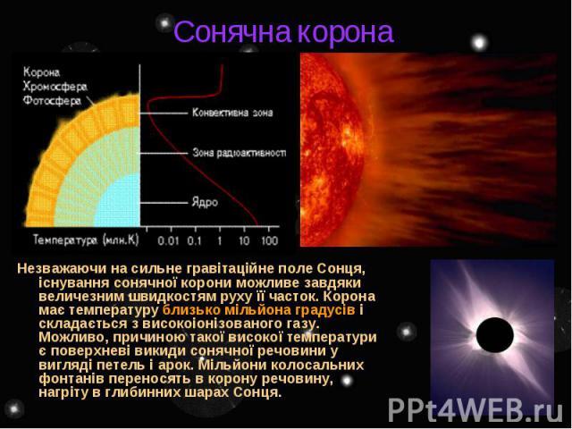 Сонячна корона Незважаючи на сильне гравітаційне поле Сонця, існування сонячної корони можливе завдяки величезним швидкостям руху її часток. Корона має температуру близько мільйона градусів і складається з високоіонізованого газу. Можливо, причиною …