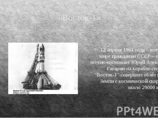 «Восток-1» 12 апреля 1961 года – впервые в мире гражданин СССР – первый летчик-к