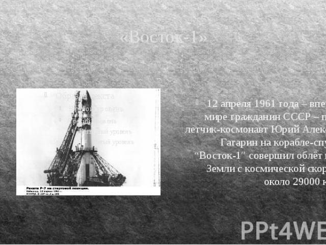 """«Восток-1» 12 апреля 1961 года – впервые в мире гражданин СССР – первый летчик-космонавт Юрий Алексеевич Гагарин на корабле-спутнике """"Восток-1″ совершил облёт вокруг Земли с космической скоростью около 29000 км\час."""