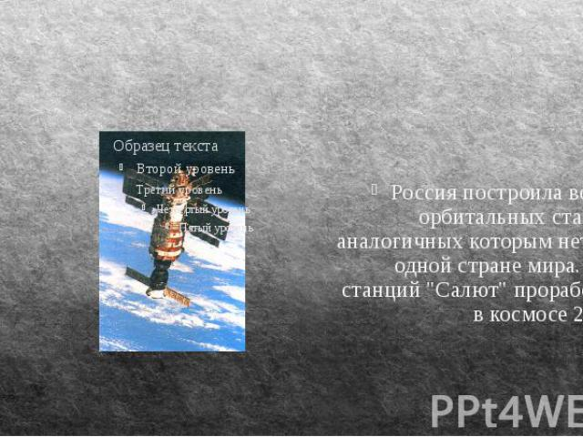 """Россия построила восемь орбитальных станций, аналогичных которым нет ни в одной стране мира. Семь станций """"Салют"""" проработали в космосе 20 лет. Россия построила восемь орбитальных станций, аналогичных которым нет ни в одной стране мира. Се…"""