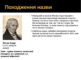 Походження назви Німецький астрономЙоганн Бодепершим з учених висуну