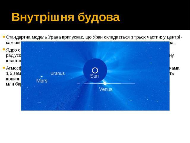Внутрішня будова Стандартна модель Урана припускає, що Уран складається з трьох частин: у центрі - кам'яне ядро, в середині - крижана оболонка, зовні - воднево-гелієва атмосфера. Ядро є відносно маленьким, з масою приблизно від 0,55 до 3,7 зем…