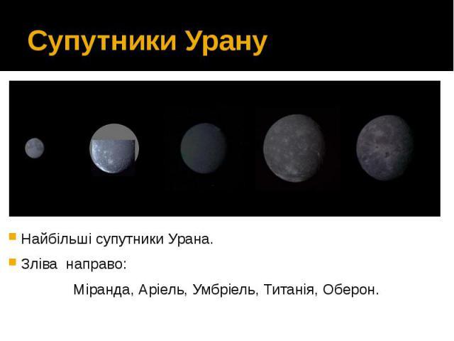 Супутники Урану Найбільші супутники Урана. Зліва направо: Міранда,Аріель,Умбріель,Титанія,Оберон.