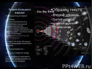 Теория Большого взрыва Что было до большого взрыва? Состояние бесконечнойп