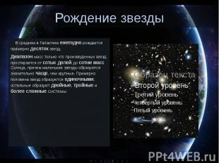 Рождение звезды В среднем в Галактике ежегодно рождается