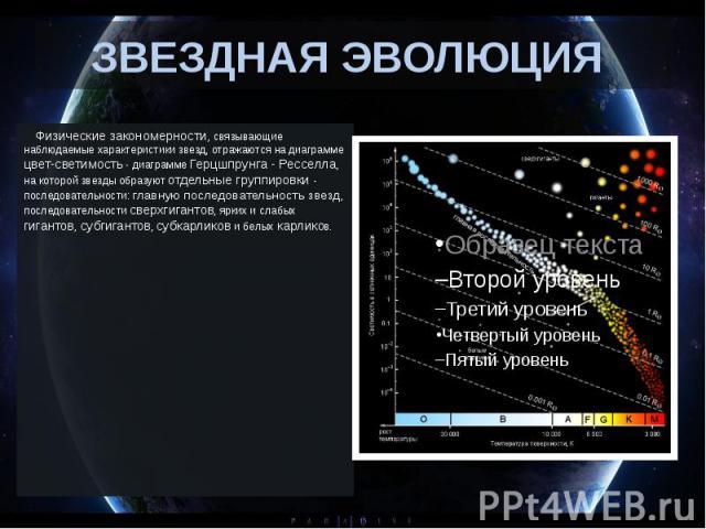 ЗВЕЗДНАЯ ЭВОЛЮЦИЯ Физические закономерности, связывающие наблюдаемые характеристики звезд, отражаются на диаграмме цвет-светимость - диаграмме Герцшпрунга - Ресселла, на которой звезды образуют отдельные группировки - п…