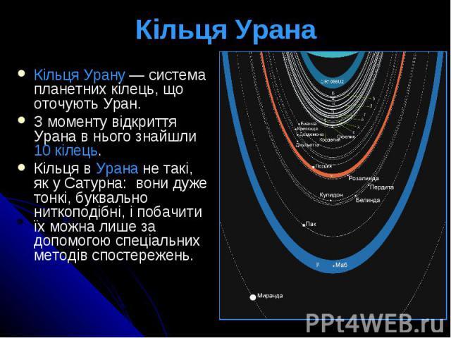 Кільця Урана Кільця Урану— система планетних кілець, що оточуютьУран. З моменту відкриття Урана в нього знайшли 10 кілець. Кільця в Урана не такі, як у Сатурна: вони дуже тонкі, буквально ниткоподібні, і побачити їх можна лише за д…