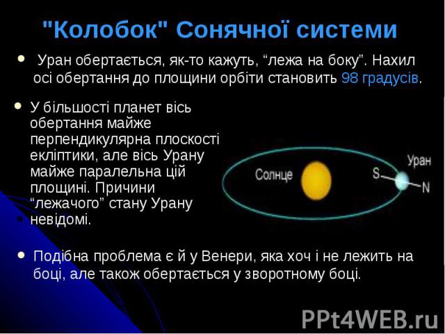 """""""Колобок"""" Сонячної системи У більшості планет вісь обертання майже перпендикулярна плоскості екліптики, але вісь Урану майже паралельна цій площині. Причини """"лежачого"""" стану Урану невідомі."""
