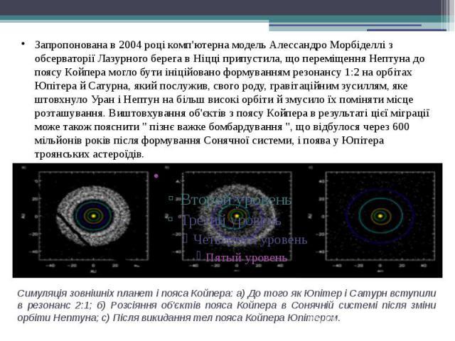 Симуляція зовнішніх планет і пояса Койпера: а) До того як Юпітер і Сатурн вступили в резонанс 2:1; б) Розсіяння об'єктів пояса Койпера в Сонячній системі після зміни орбіти Нептуна; c) Після викидання тел пояса Койпера Юпітером.