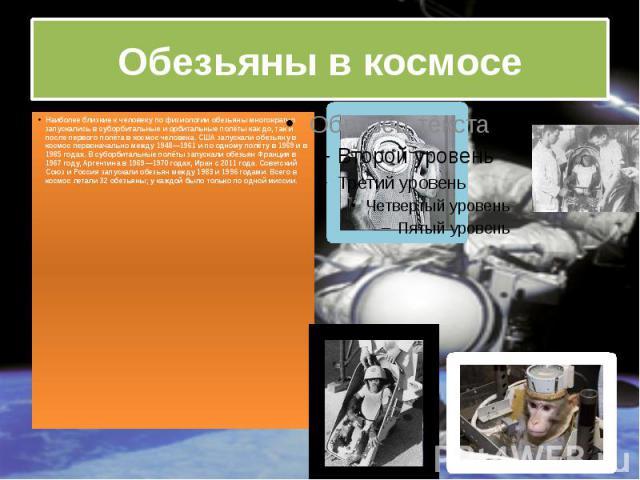 Обезьяны в космосе Наиболее близкие к человеку по физиологии обезьяны многократно запускались в суборбитальные и орбитальные полёты как до, так и после первого полёта в космос человека. США запускали обезьяну в космос первоначально между 1948—1961 и…