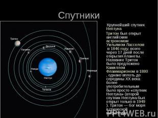 Спутники Крупнейший спутникНептуна Тритонбыл открыт английским