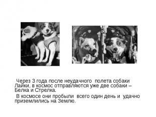Через 3 года после неудачного полета собаки Лайки, в космос отправляются уже две